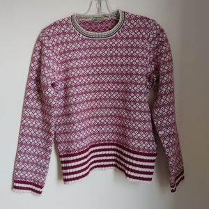 J.Crew Fair Isle Red Wool Sweater Size S